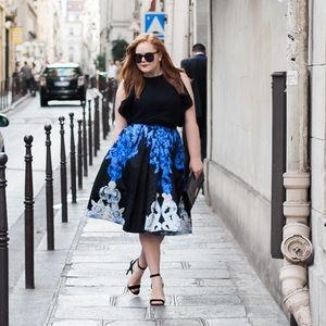 black and blue jacquard tibi midi skirt